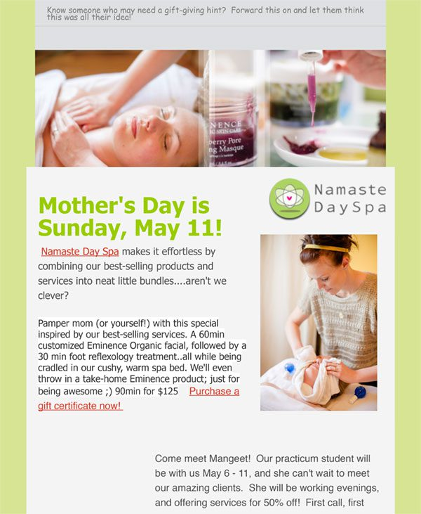 Namaste Spa Kelowna Newsletter
