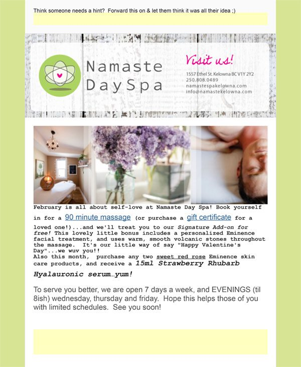 Greeting From Namaste Days Spa Kelowna
