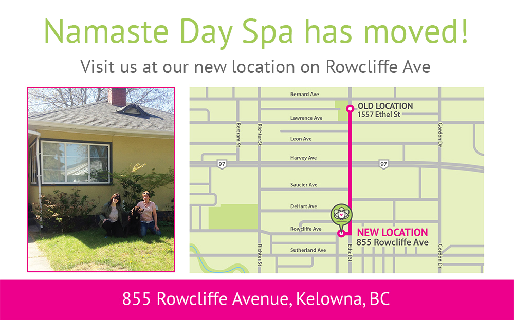 Namaste Day Spa Kelowna map to new location